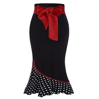 PHKYT Falda de Sirena de Lunares Rojos con Lazo, Falda Vintage ...