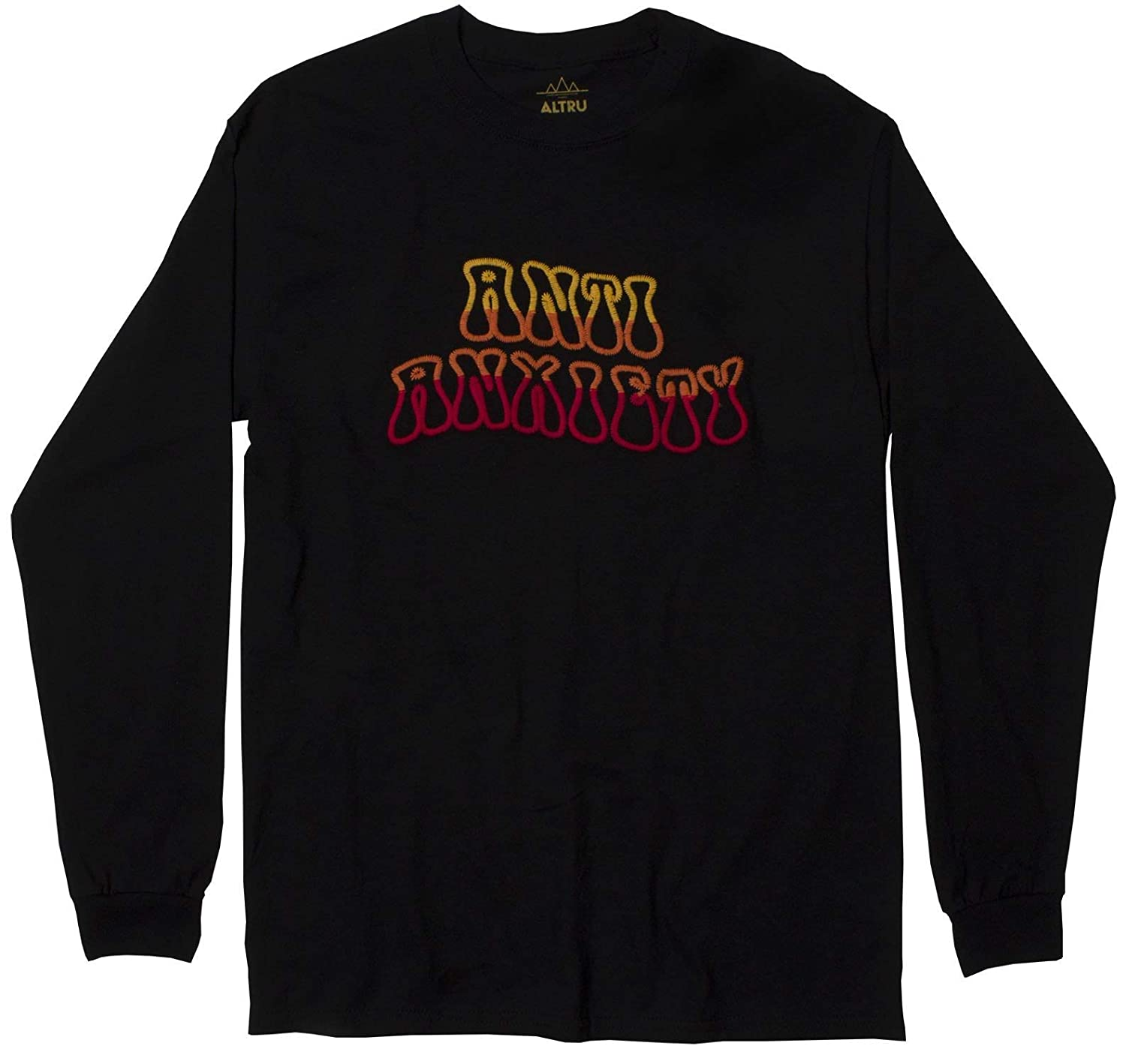 Altru Apparel Anti Anxiety Embroidered Long Sleeve Mens Black Graphic tee