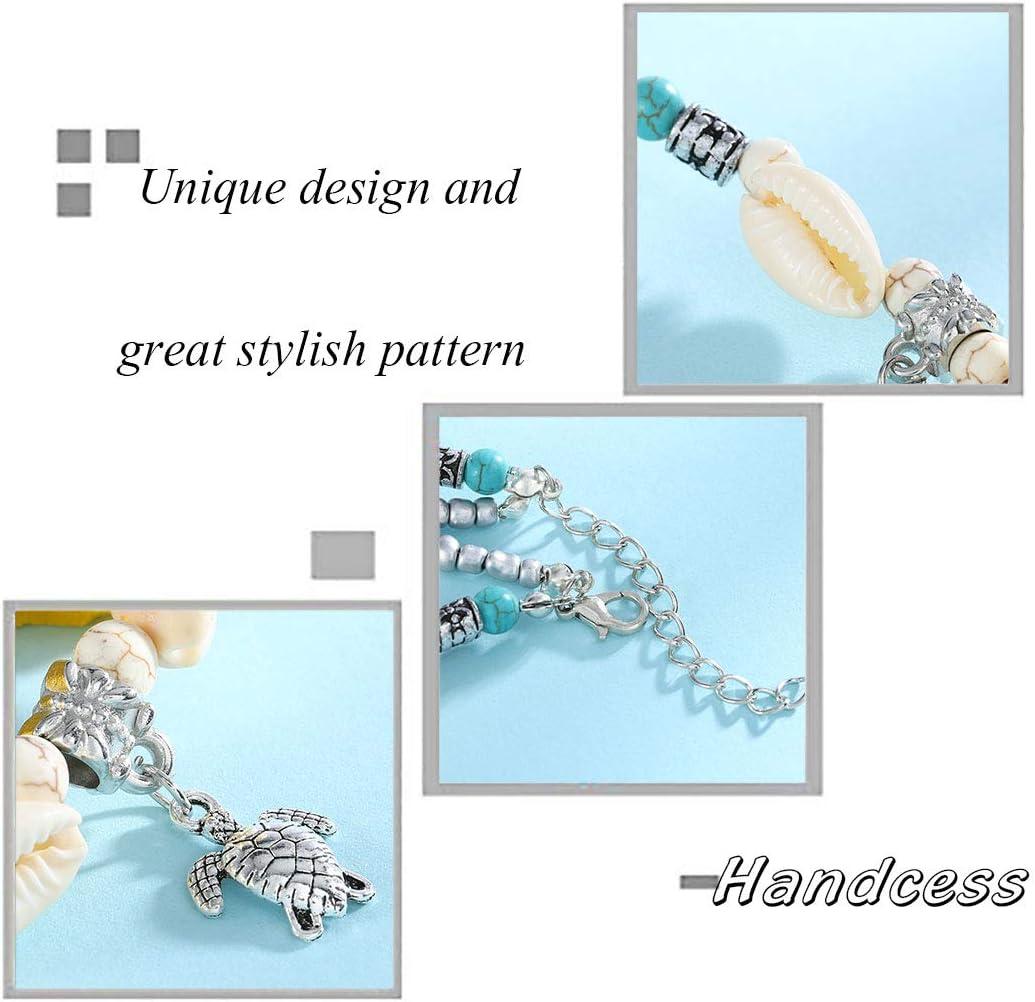 turchese e tartaruga con conchiglia per donne e ragazze Handcess Cavigliera a strati color argento