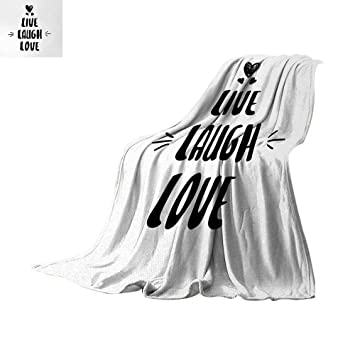 Anhuthree Live Laugh Love Throw Blanket Cute Doodle Hearts Hand Drawn Style Modern Lettering Arrows Happiness