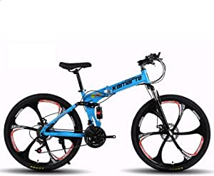 Bicicleta de montaña Plegable con Ruedas de 24 Pulgadas, Rueda 6 ...