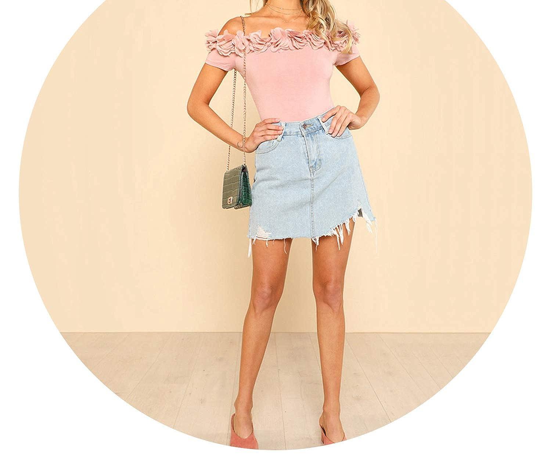 better-caress Bodysuit Pink Short SLE Mid Waist Party Wear Skinny Bodysuit Flower Shoulder Bodysuit