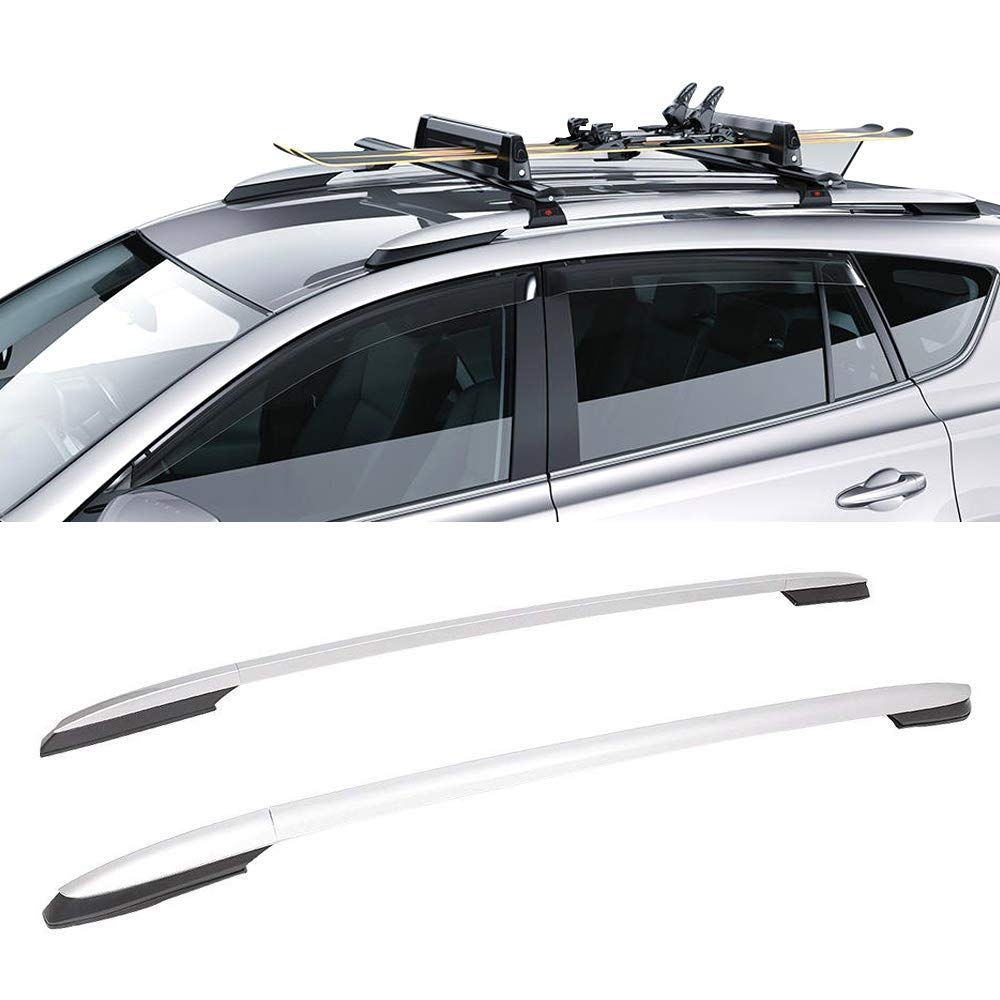 Roof Rack Fits 2013-2017 Toyota RAV4 | OE Factory Style Roof Rack Cross Bar Side Rail Silver by IKON MOTORSPORTS | 2014 2015 2016