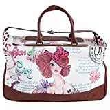 Girls Brown Multi Graphics Themed Wheeled Duffle Bag Upright Rolling Duffle, Beautiful Vintage Girl, Quotes & Saying, Flowers Printed Carry on, Travel Duffel with Wheels, Wheeling Luggage, Fashionable