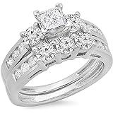 IGI CERTIFIED 1.90 Carat (ctw) 14K White Gold Princess & Round Diamond 3 Stone Bridal Engagement Set
