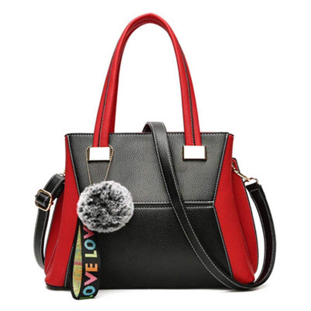 Chic-Dona Fashion Panelled Women PU Leather Handbag Shoulder Bag Large Capacity Women Bag Women Tote Bags Femme Red 31x12x22cm