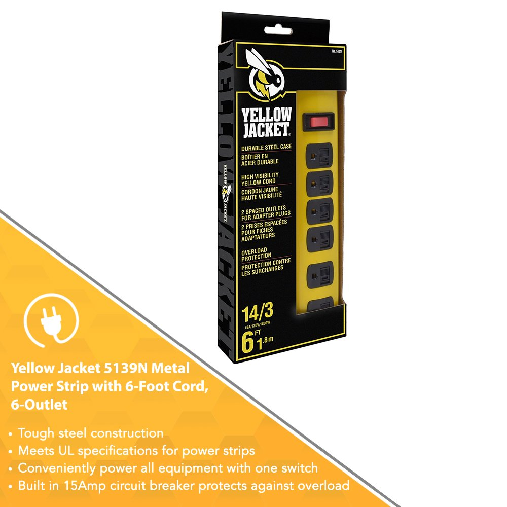 Yellow Jacket Metal Power Strip with 6 Outlets And 6 Foot Cord by Yellow Jacket