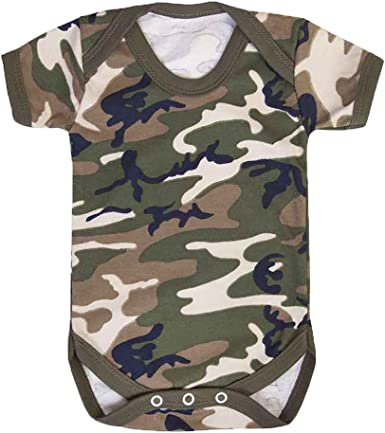 Kids//Babies Military Army Camo Unisex Baby Grow Vest Bodysuit 0-24 Mnths