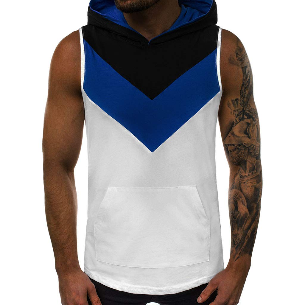 Tanks Tops Shirt Men's Vest Jacket Patchwork Sleeveless Hoodie Tee Jersey with Pocket (L, White)
