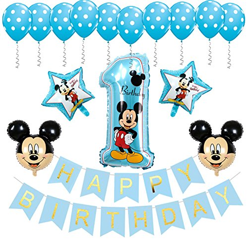 BE Happy Mickey Mouse 1st Birthday Decorations Banner-Balloon for Birthday Party Decor(Blue)