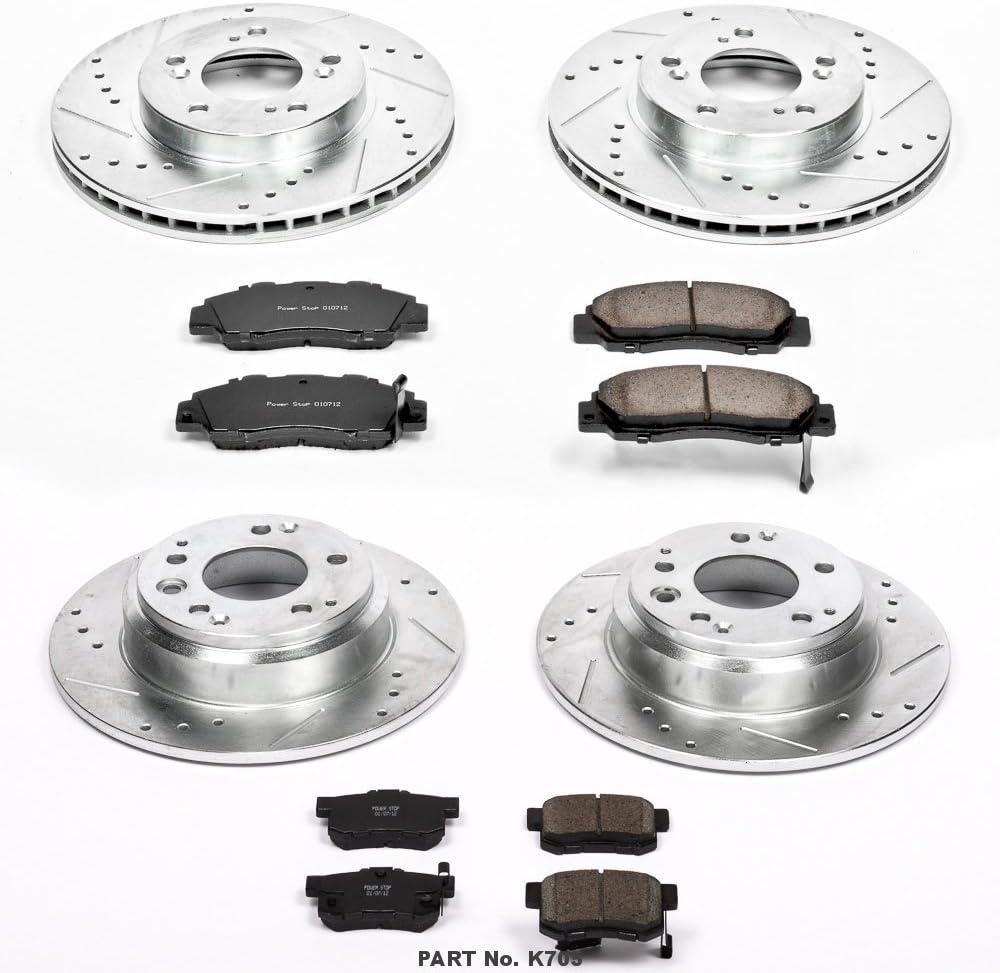 Power Stop K705 Front /& Rear Brake Kit with Drilled//Slotted Brake Rotors and Z23 Evolution Ceramic Brake Pads