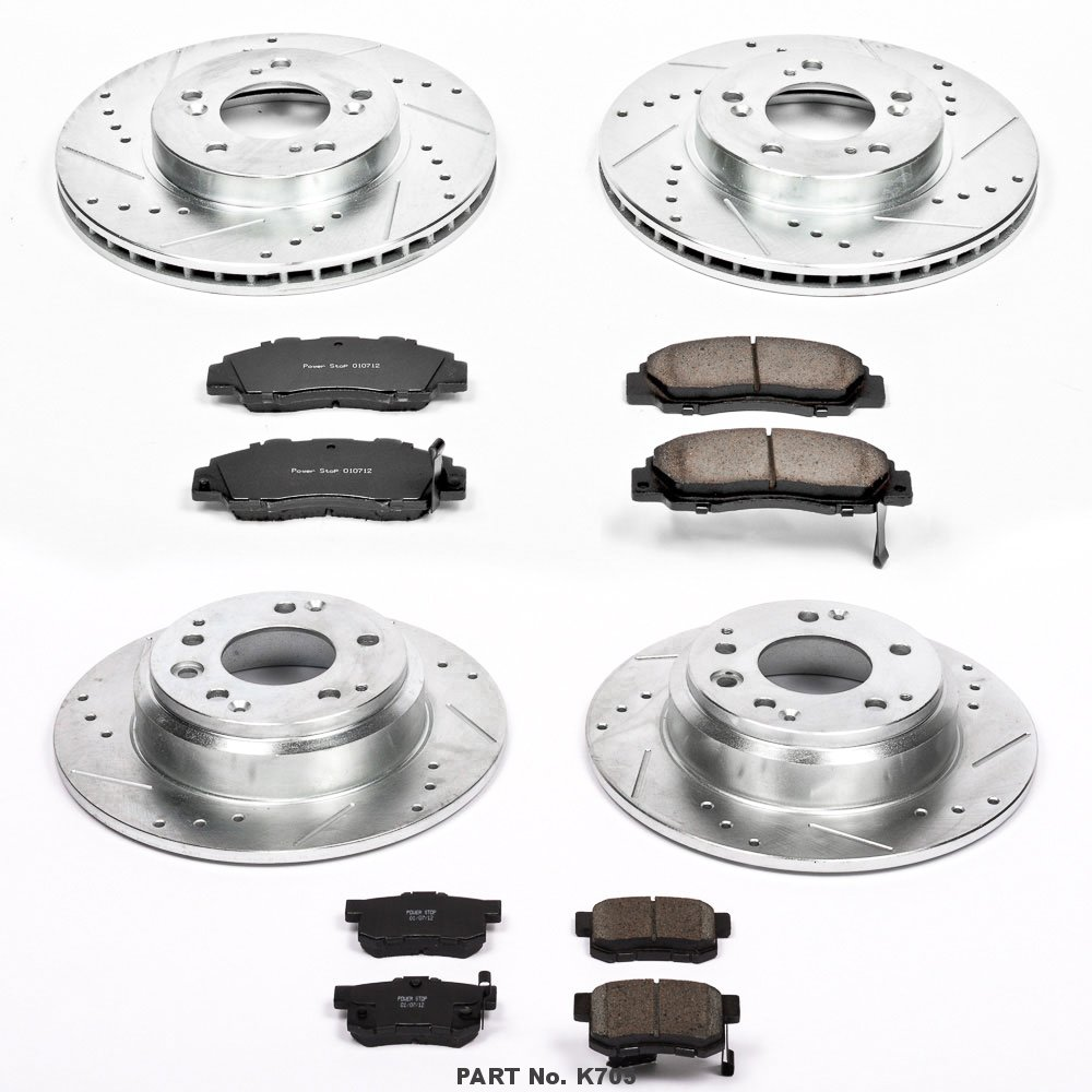 Power Stop K705 Front and Rear Z23 Evolution Brake Kit with Drilled//Slotted Rotors and Ceramic Brake Pads