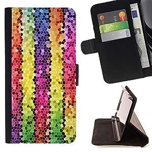 BullDog Case - FOR/HTC One M8 / - / polygon electronic 3d lines colorful /- Monedero de cuero de la PU Llevar cubierta de la caja con el ID Credit Card Slots Flip funda de cuer