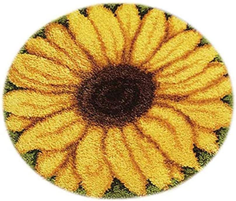 YWNYT DIY Latch Hook Kits Rug Cushion Crochet Kits for Home Decor, for Kids/Adults with Printed Canvas Pattern, Sunflower/Dog/Ladybug, 50 x 50cm(20 Inch x 20 Inch) (Sunflower)