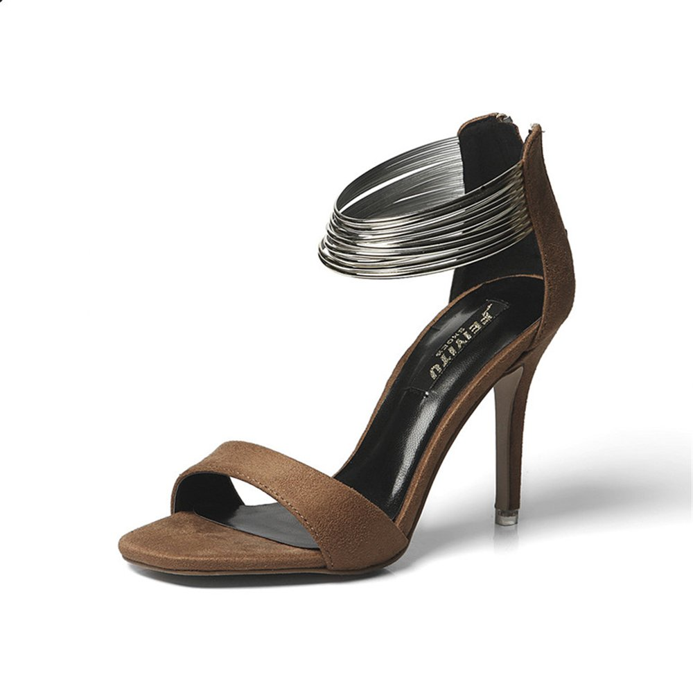 e5cab6fca80f7 eleganceoo Women s Open Toe Toe Toe Metal Ankle Strap Stiletto High ...