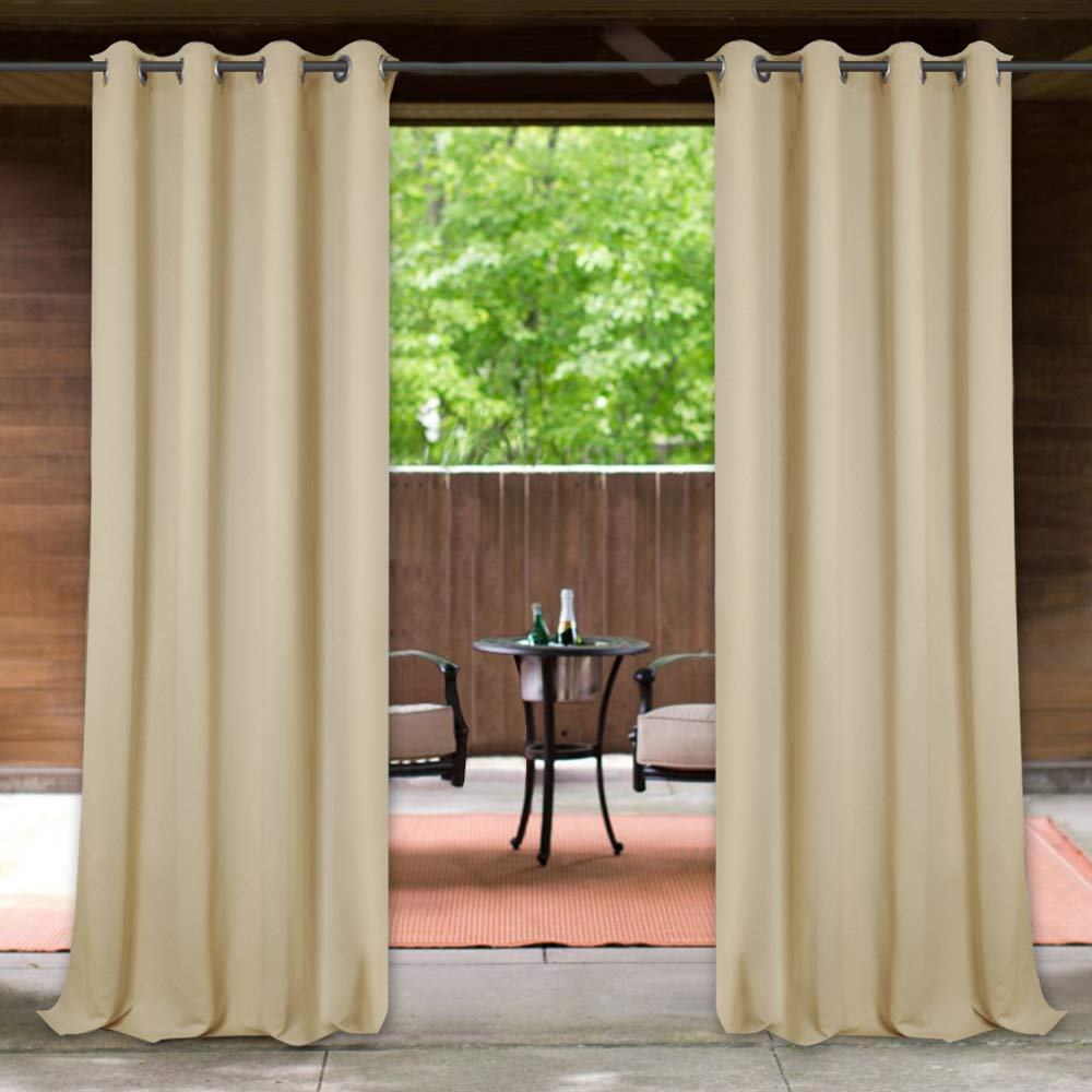 Outdoor Drapes for Patio Waterproof - 52x108-inch Heavy-Duty Against Wind Waterproof Grommet Top Outdoor Blackout Drapes Privacy Enhancing Curtain Panels for Courtyard/Garden, Cream Beige, 1 Pc