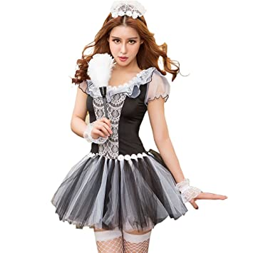 Just See You Women s Sexy Lace Lingerie Outfits Cosplay Maid Dress  Underwear Set Uniforms Temptation Mesh Mini Skirt Costume  Amazon.co.uk   Health ... dc75df22c