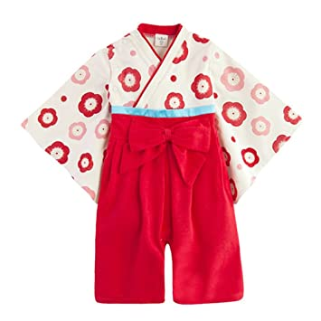 b14342b7db6c1 キッズクール) Kids Cool 100%綿 女の子 ベビー用 ロンパース 着物 フォーマル お