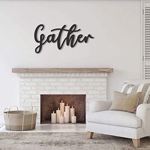 Handmade Gather Sign for Dining Living Room Metal Word Family Quotes Wall  Art Steel Hanging Home Housewarming Cursive Farmhouse Decor Parents ...