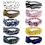 DRESHOW 10 Pack Boho Headbands for Women Vintage Flower Printed Criss Cross Elastic Head Wrap Twisted Cute Hair Accessories