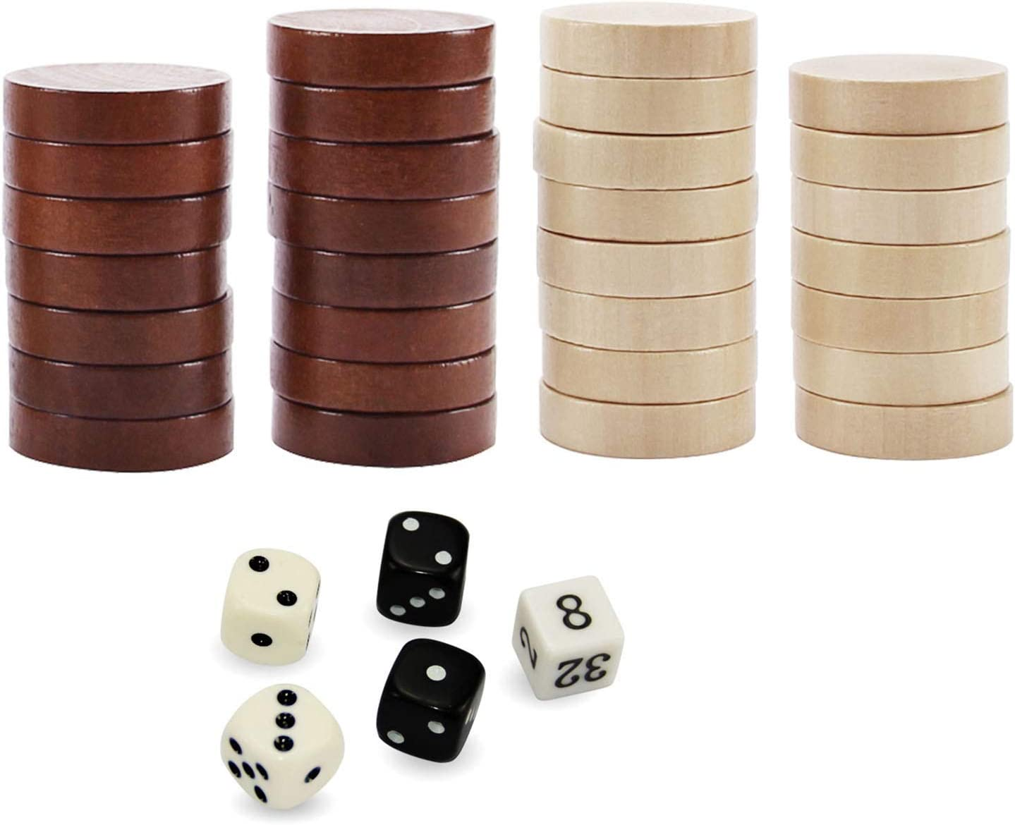 30 Piece Set Backgammon Pieces Mosaic,wood Checkers,Dice Game Pieces,wooden pieces,syria 25 20 or 15 mm CheckersBoard Games pieces 35