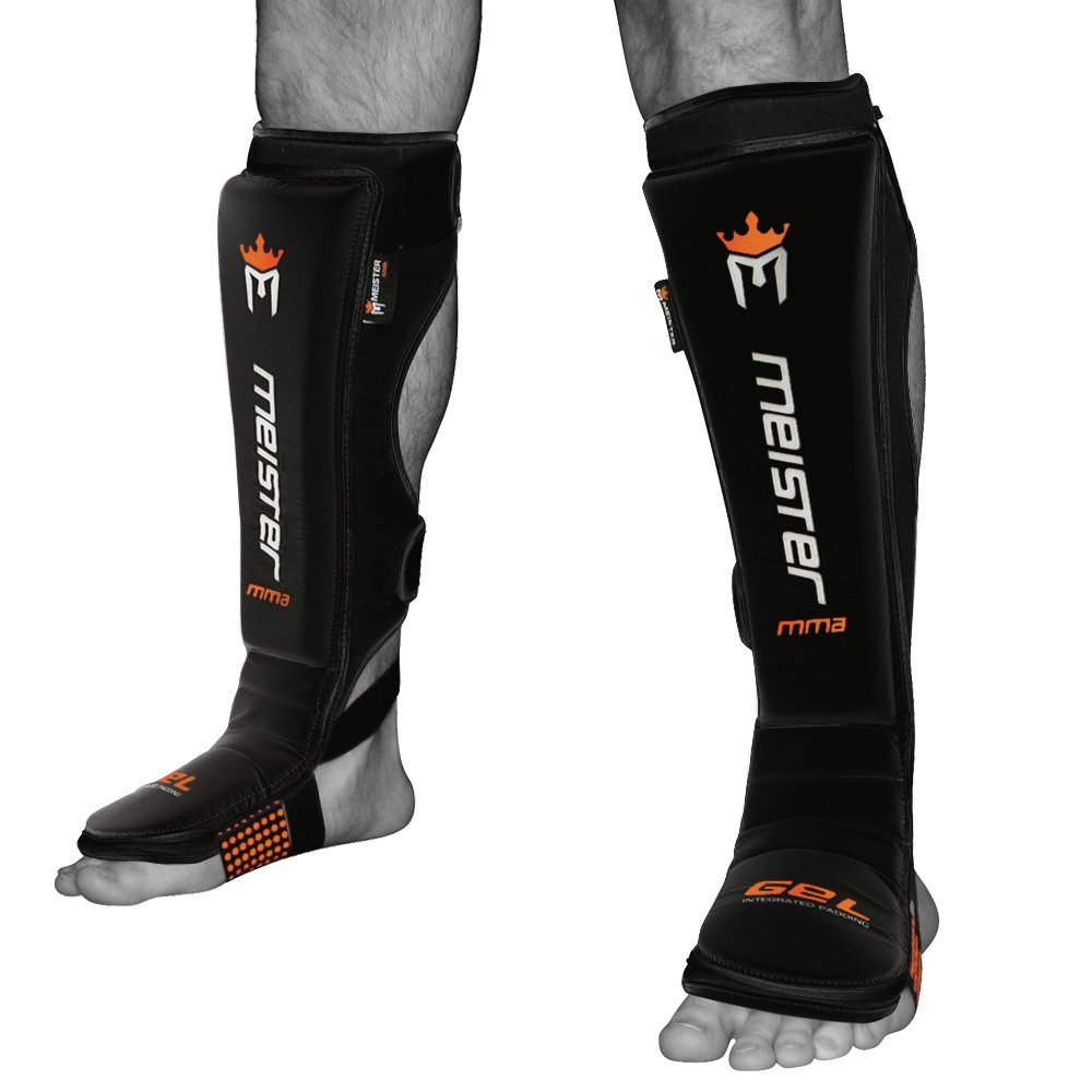 Meister EDGE Leather Instep Shin Guards w/Gel Padding (Pair) - Black - Large/X-Large by Meister MMA