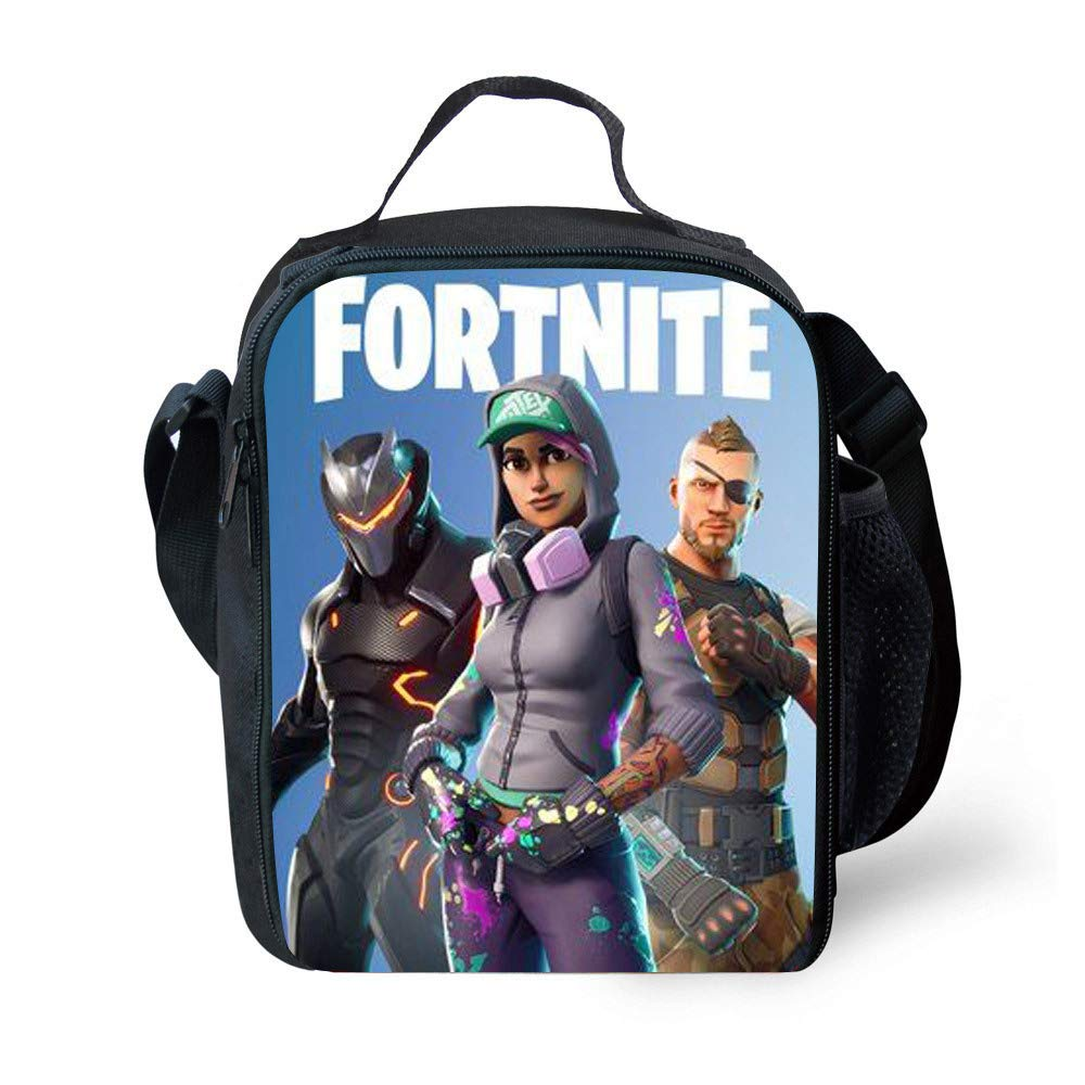Fortnite Oxford Nylon Lunch Bag Insulated Lunch Box for Women Men Girls Boys Kids Teens School Snack Grocery Organizer Totes Shoulder Sling Bag with Zip and Handle WIWI