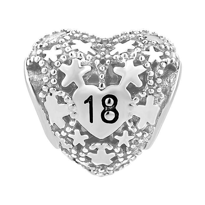 Sug Jasmin Heart Coming-of-age Ceremony 18th Birthday Charm Beads For Bracelets KKxdE41QHa