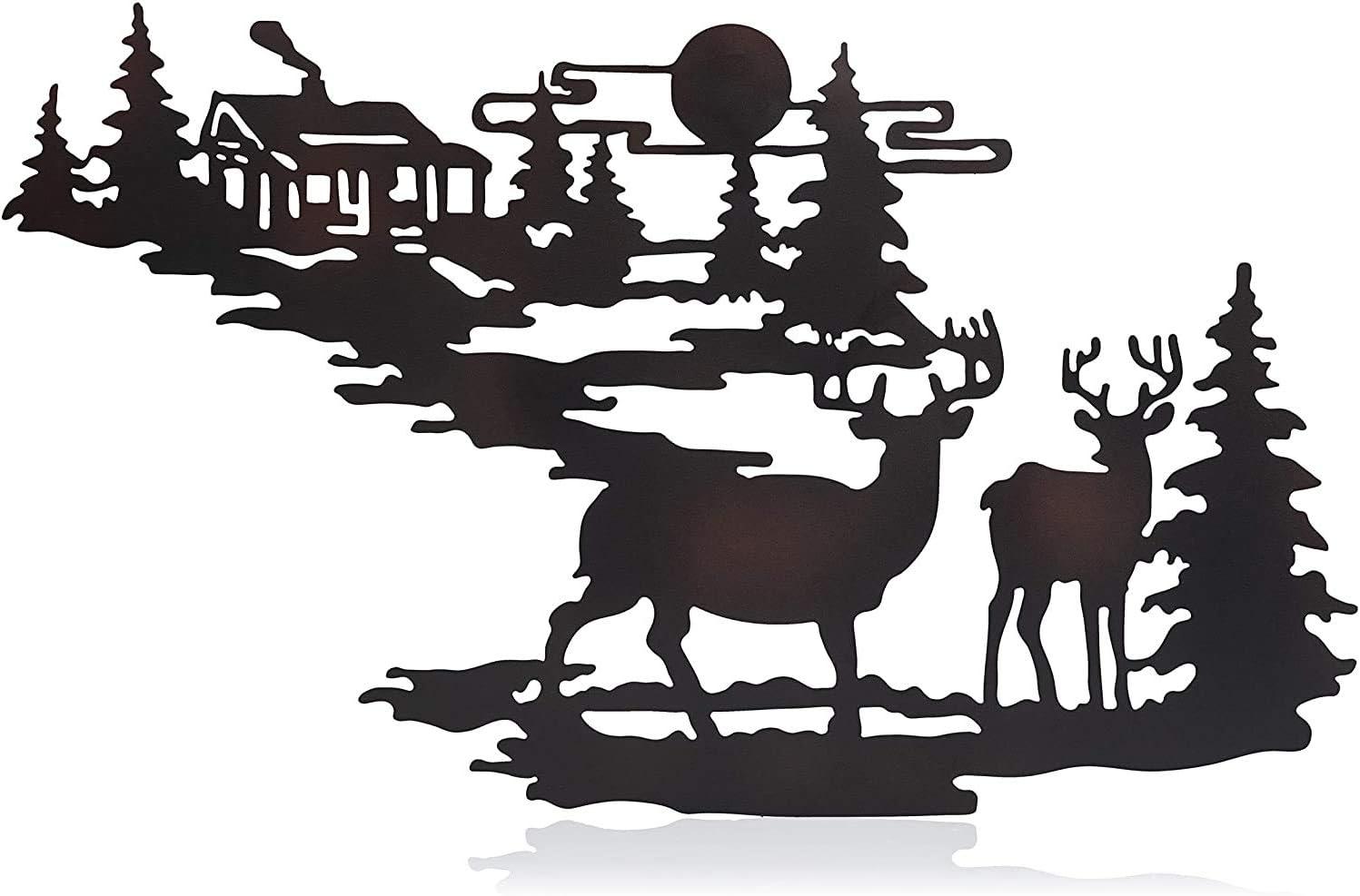 CTD Store Elegant Metal Wall Art Woodland Cabin Deer Silhouette Wildlife Indoor Wall Decor