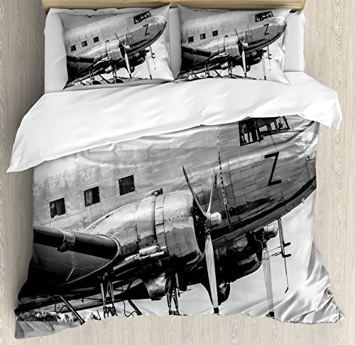 Vintage Airplane Decor Duvet Cover Set King Size by Ambesonne, Old Airliner Cockpit Antique Engine Propellers Wings Nostalgia Image, Decorative 3 Piece Bedding Set with 2 Pillow Shams, Grey - Cockpit Size