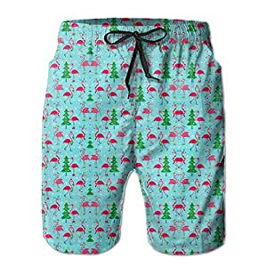 Funny Flamingo Santa Tree Men's Summer Board Shorts XL
