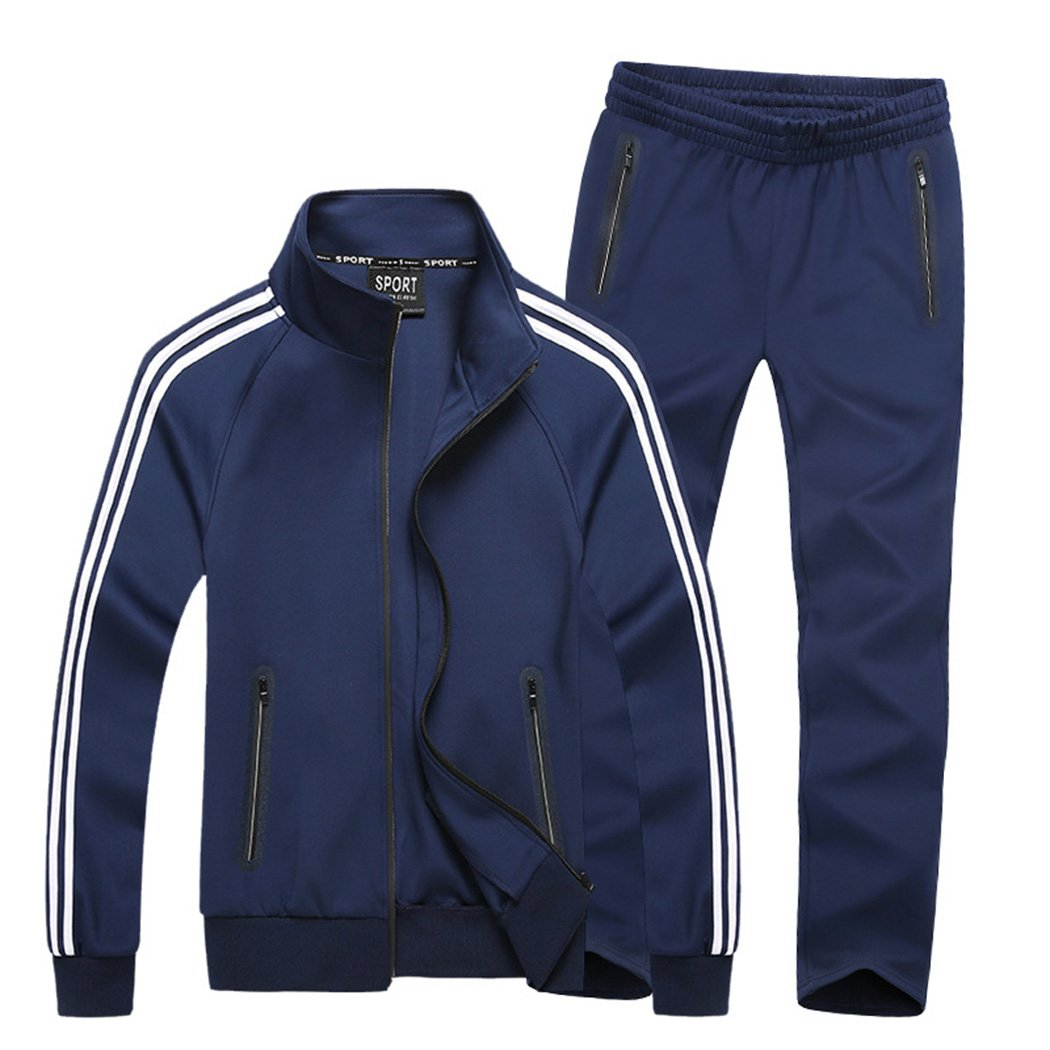 Real Spark Men's Athletic Full-Zip Jogger Tracksuit Sports Set Casual Sweat Suit Navyblue XXL