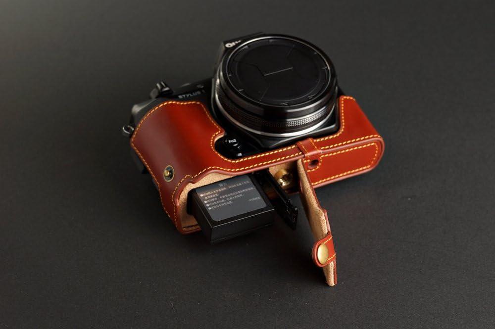TP fait main en cuir v/éritable Housse pour appareil photo Olympus STYLUS 1 ouverture pour Version Marron