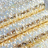 QIHANG Luxury Gold Foil Mosaic Background Flicker Wall Paper Modern Roll/hotel Ceiling/decorative Wallpaper Roll Pale Gold Colour