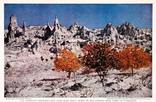 1932 Color Print Volcano Lava Pumice Stone Cone Homes Cappadocia Turkey Geology - Original Color Print - Cone Pumice