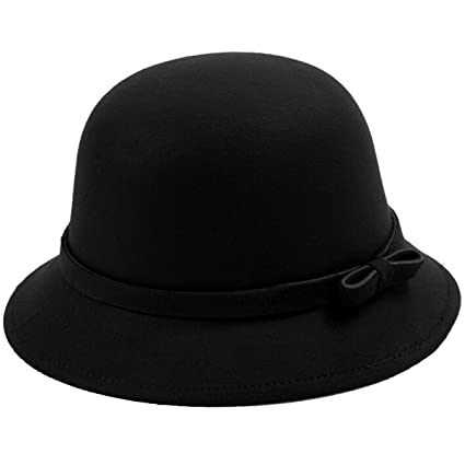 4784248fc99 EUBUY Womens Vintage Wool Felt Fedora Hat with Bowknot Floppy Hat Cloche  Derb Bowler Hat Wide