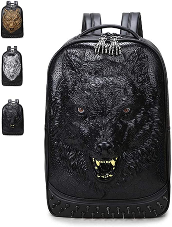 WENDYRAY Mochila 3D Wolf Head Mochila para portátil de Cuero de 15,6 Pulgadas con Remaches Bolso Escolar Informal de Gran Capacidad para Mujeres/niñas, Hombres/niños,Negro,M