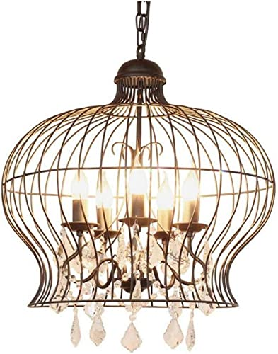 HAIXIANG Retro Black Wrought Iron Bird Cage Candle Chandelier Crystal Pendnat Lamp Ceiling Light Fixtures Clothing Store Restaurant Living Room