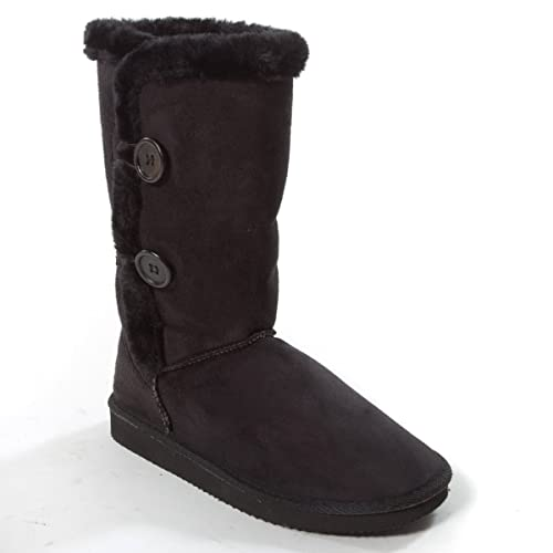 71ce4f1504a Karyn s Collection Womens FRIDA Closed Round Toe Faux Fur Button Mid Calf  Flat Bootie Boot Shoes