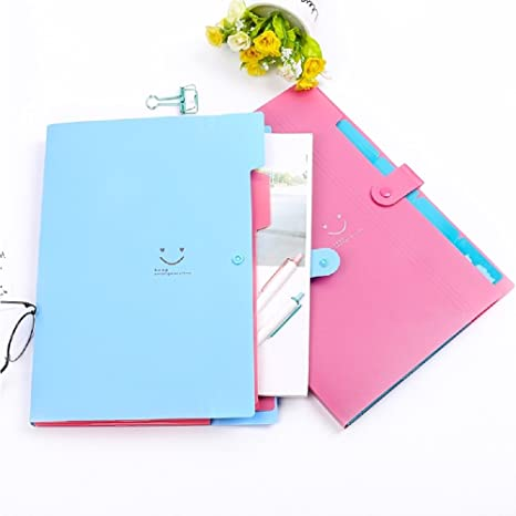 Amazon.com : New A4 Kawaii Carpetas Smile Waterproof Carpeta File Folder 5 Layers Archivadores Anillas Document Bag Office Stationery : Office Products