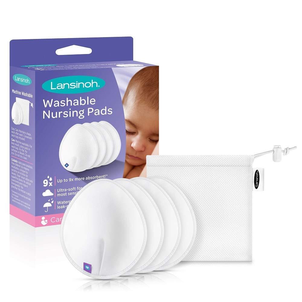 Lansinoh Washable Reusable Nursing Pads with Bamboo, 2 Pairs by Lansinoh