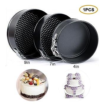 Molde antiadherente para tartas, moldes redondos de muelles para postre, parte inferior redonda para cocinar y hornear 9 pulgadas: Amazon.es: Hogar