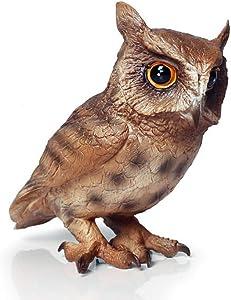 Beauy Girl Cute Owl Animal Figure Lifelike Owl Figure Collection Playset Wildlife Owl Model, Cake Topper, Fairy Garden Decor