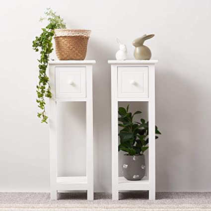 huge selection of 9c3f5 8bcf5 MissSnower 2x Tall Bedside Tables With Drawer and Shelf White Slim Side  Table Hallway Living Room