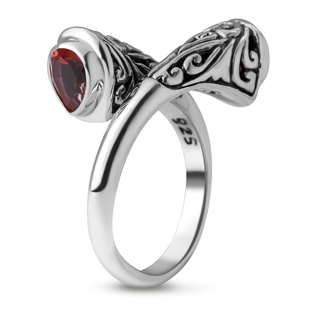 Chuvora 925 Sterling Silver Filigree Garnet Rhodolite Stone Band Ring Women Jewelry Size 8