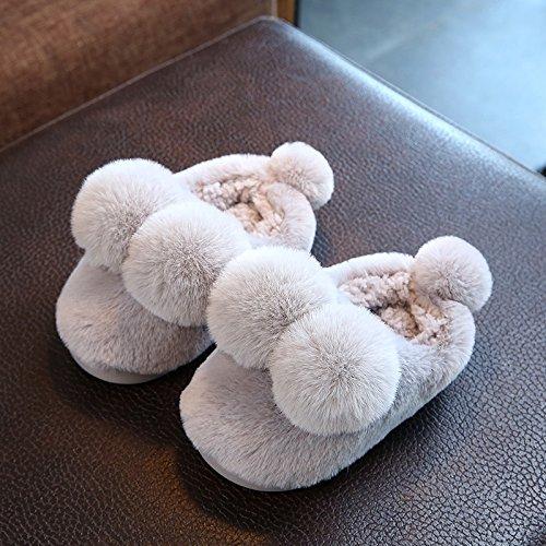 Cotone fankou pantofole femmina inverno soggiorno di una famiglia di tre interne anti-slittamento fondo morbido radice del pacchetto delizioso caldo paio di scarpe di cotone ,39-40, grigio chiaro