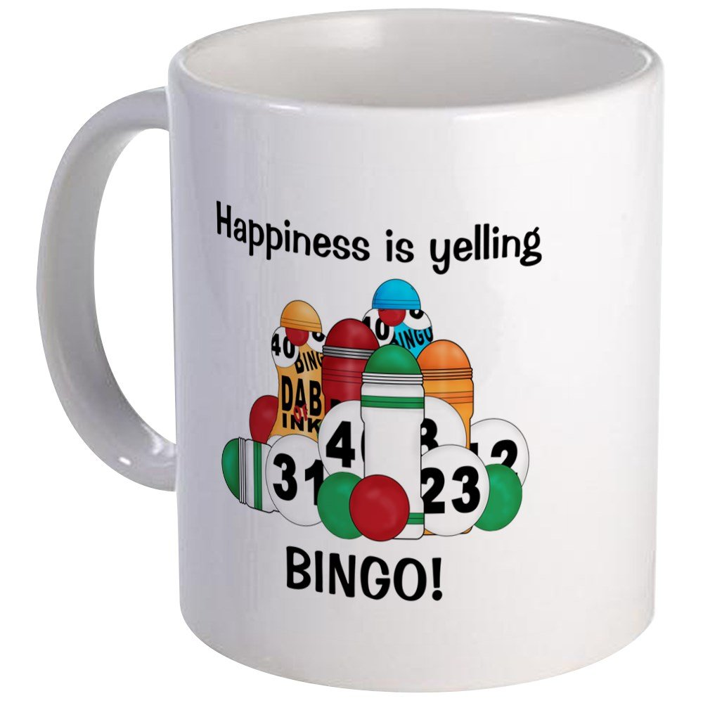 CafePress - Happiness Is Yelling BINGO Mug - Unique Coffee Mug, Coffee Cup by CafePress