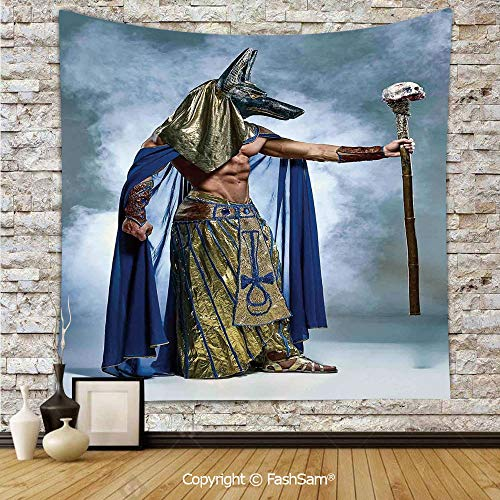 FashSam Hanging Tapestries Ancient Egyptian Pharaoh with a Mask of Anubis Foggy Background Print Wall Blanket for Living Room Dorm Decor(W39xL59)