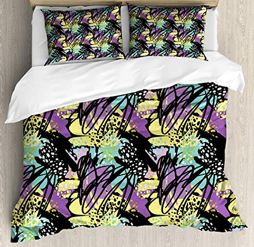 (Abstract Duvet Cover Set Queen Size, Brush Strokes Modern Art Illustration with Stripes and Splashes, Decorative 4 Piece Bedding Set with 2 Pillow Shams, Yellow Purple Turquoise Black)
