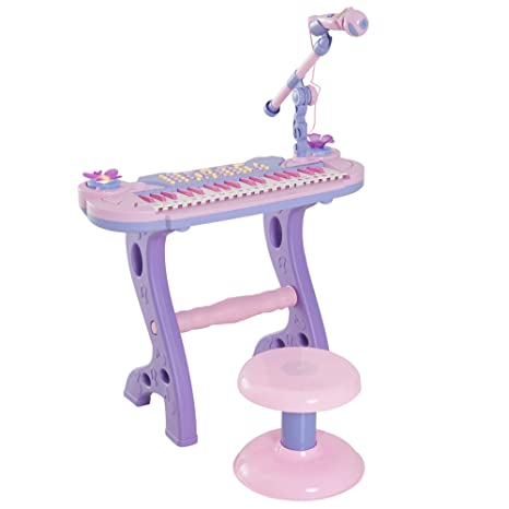 HOMCOM Piano Infantil 37 Teclas Teclado Electrónico Juego de Piano Regalo Juguete Educativo para Niños +